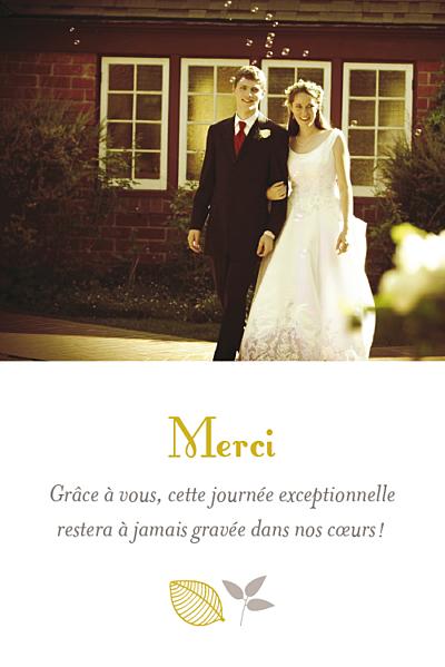 Carte de remerciement mariage Petite forêt crm grand finition