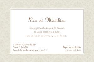 Carton d'invitation mariage Nous deux marron