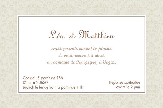 Carton d'invitation mariage Nous deux marron - Page 1