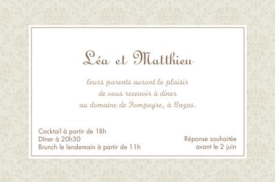 Carton d'invitation mariage Nous deux marron finition
