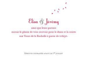 Carton d'invitation mariage Grand bouquet rouge