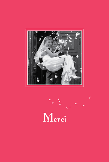 Carte de remerciement mariage Bouquet portrait rouge