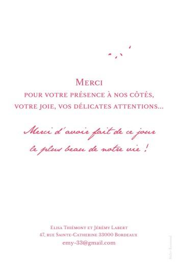 Carte de remerciement mariage Bouquet portrait rouge - Page 2