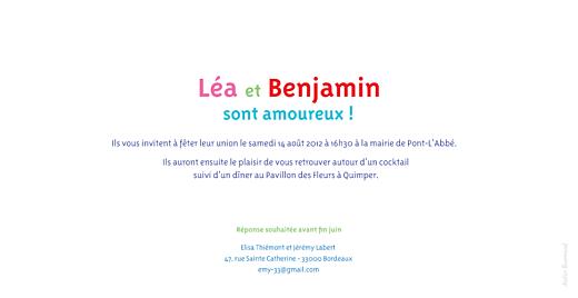 Faire-part de mariage Dis moi oui ! rose & bleu - Page 2