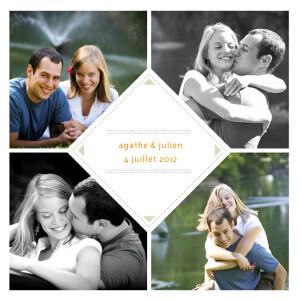 Faire-part de mariage 4 photos losange beige