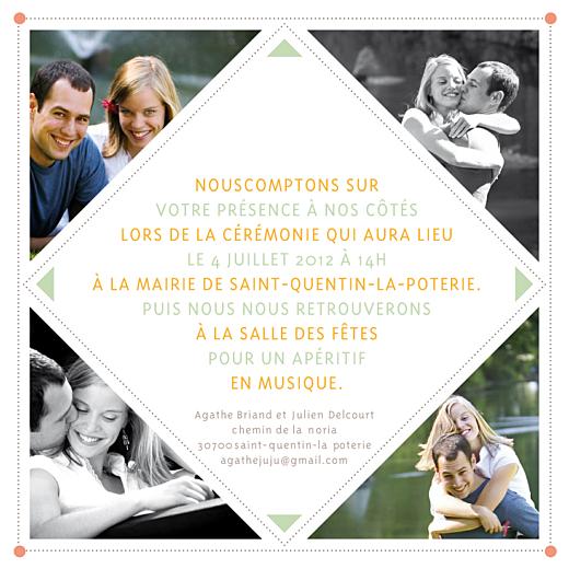 Faire-part de mariage 4 photos losange rv beige - Page 2
