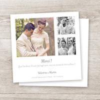 carte de remerciement mariage souvenir 3 photos - Remerciement Mariage