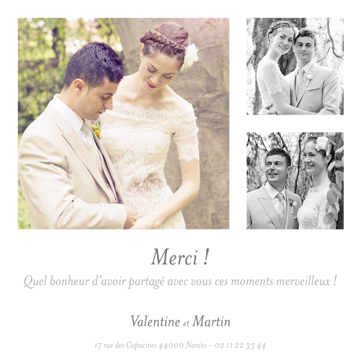 carte de remerciement mariage souvenir 3 photos atelier. Black Bedroom Furniture Sets. Home Design Ideas