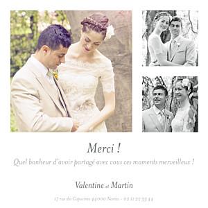 Carte de remerciement mariage classique souvenir 3 photos blanc
