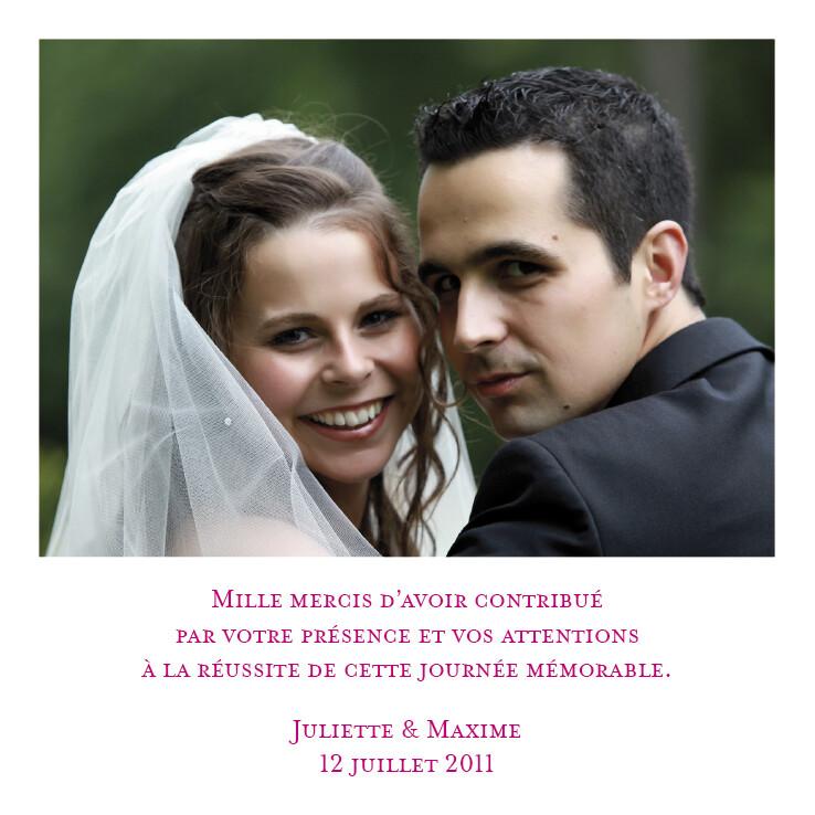 souvenir unique carte de remerciement mariage - Carte De Remerciement Mariage Avec Photo
