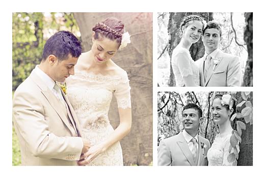Carte de remerciement mariage Simple 3 photos blanc