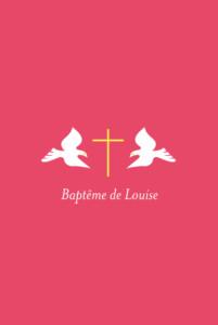 Faire-part de baptême Croix & colombes rose