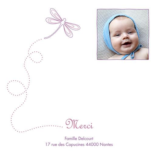 Carte de remerciement Petite libellule prune - Page 1