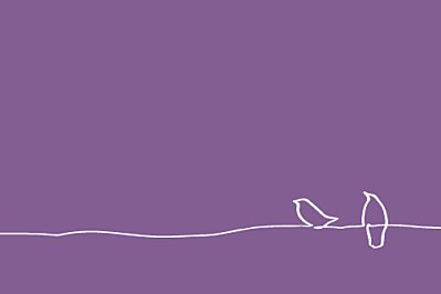 Carton d'invitation mariage Oiseaux prune finition