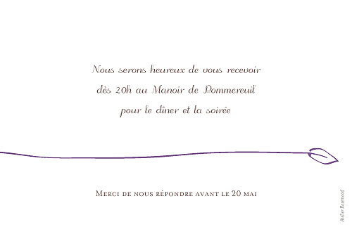 Carton d'invitation mariage Oiseaux prune