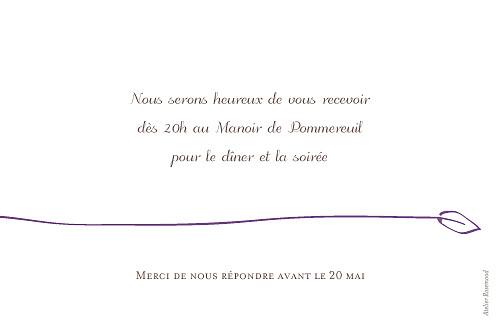 Carton d'invitation mariage Oiseaux prune - Page 2
