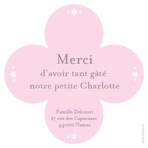 Carte de remerciement Petit trèfle photo rose