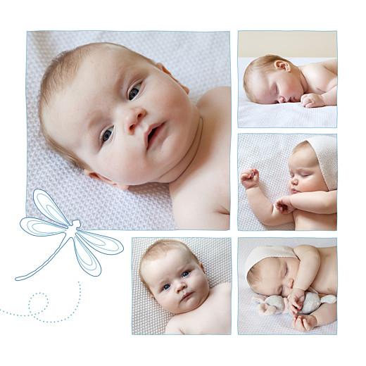 Faire-part de naissance Libellule 8 photos bleu