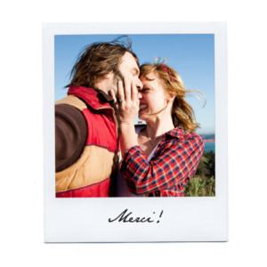 Carte de remerciement mariage Polaroid (2 photos) blanc