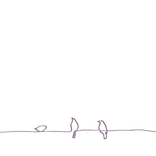 Faire-part de mariage Oiseaux (carré) prune