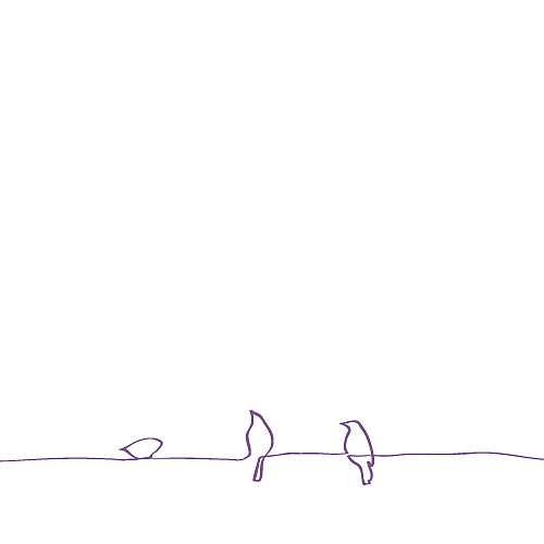 Faire-part de mariage Oiseaux (carré) prune - Page 2