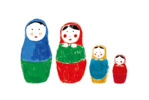 Faire-part de naissance 4 poupées photo rouge