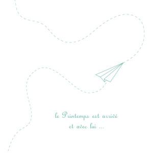 Faire-part de naissance Origami avion 3 photos vert