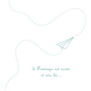 Faire-part de naissance jumeaux origami avion 3 photos vert