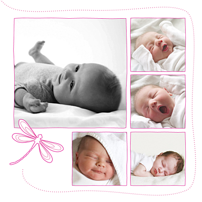 Faire-part de naissance Libellule 5 photos rose finition