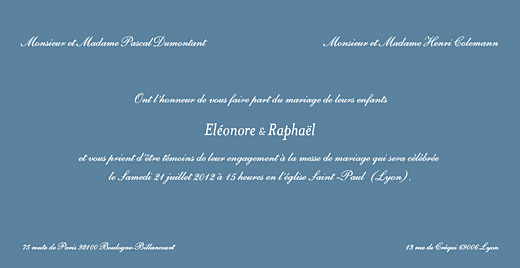 Faire-part de mariage Elegant wedgewood