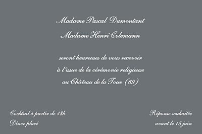 Carton d'invitation mariage Elegant ardoise finition