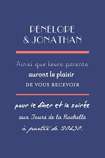 Carton d'invitation mariage Oh oui ! corail bleu