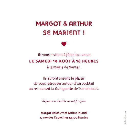 Faire-part de mariage Amour rouge