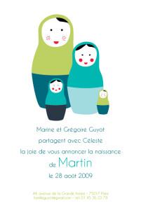 Faire-part de naissance 4 poupées russes chic turquoise