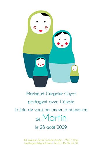 Faire-part de naissance 4 poupées russes chic turquoise - Page 1