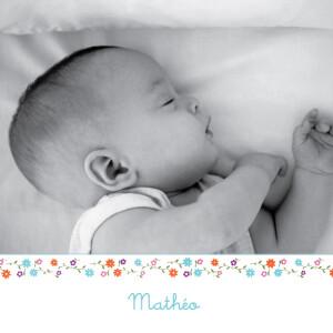 Faire-part de naissance Cueillette 2 photos bleu-blanc