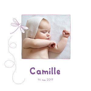 Faire-part de naissance Libellule 4 photos prune