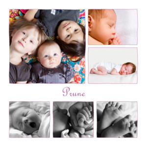 Faire-part de naissance 6 photos 4 pages prune