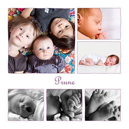 Faire-part de naissance 6 photos 4 pages prune