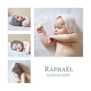 Faire-part de naissance fille classique 6 photos blanc