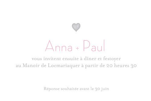 Carton d'invitation mariage Petits coeurs gris pâle