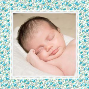 Faire-part de naissance Liberty 2 photos bleu