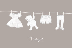Faire-part de naissance Linge peluche fille photo taupe
