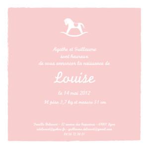 Faire-part de naissance Petit cheval carré fille rose layette