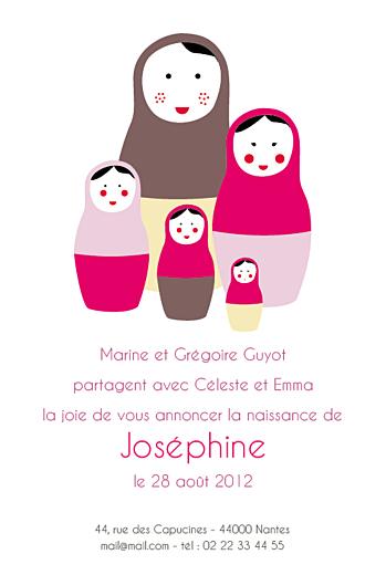 Faire-part de naissance 5 poupées russes recto rose - Page 1