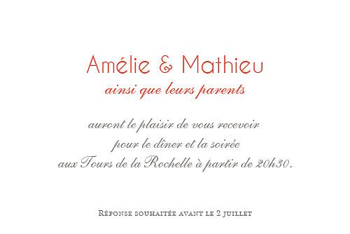 Carton d'invitation mariage Réjouissance blanc