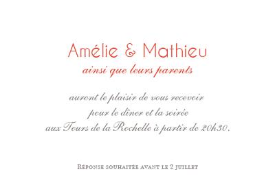 Carton d'invitation mariage Réjouissance blanc finition
