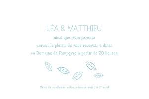 Carton d'invitation mariage Nature bleu