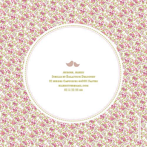 Faire-part de naissance Liberty 4 pages rose