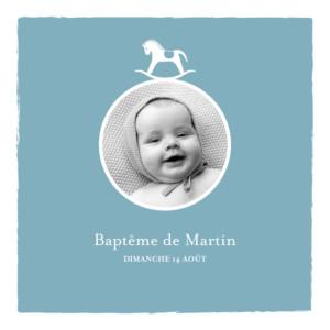 Faire-part de baptême Petit cheval photo bleu